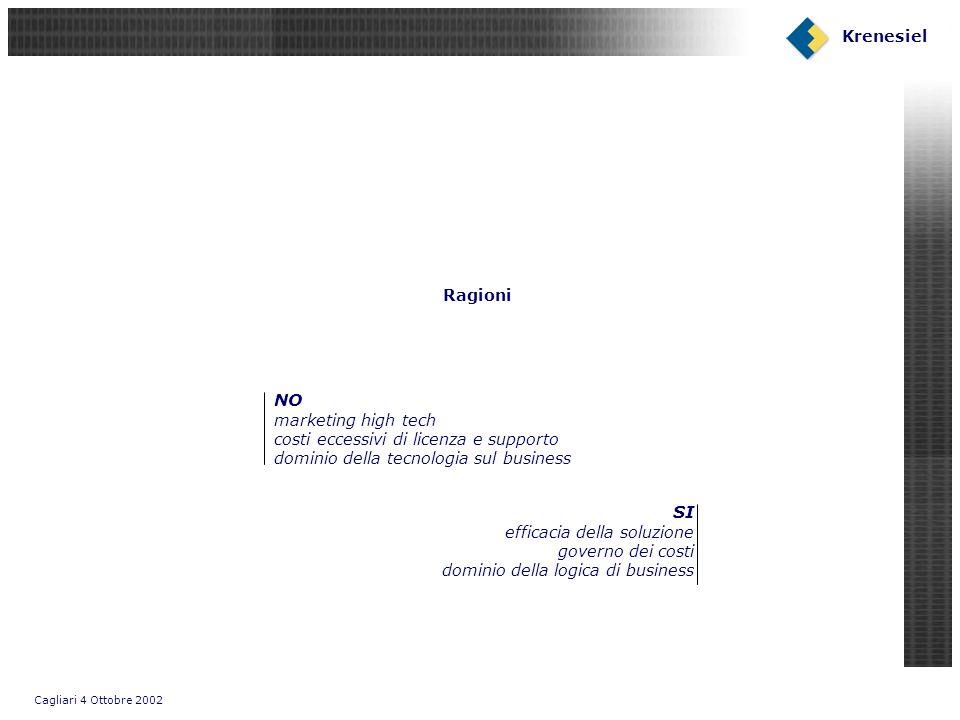 Cagliari 4 Ottobre 2002 Krenesiel PLATFORMS: Framework Open Source Browser WEB CONTAINER TOMCATEJB CONTAINER JBOSS Servlet JSP EJB J2EE API HTTP FTP SMNP RMI LEGACY/ALTRI Soap engine Connector APPs FTP SMNP Business Rules Framework Open Source J2EE Framework Open Source Web Services Java app.