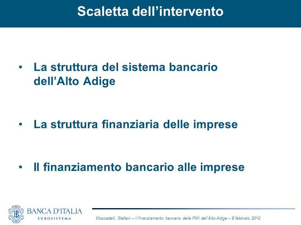 La struttura del sistema bancario dellAlto Adige La struttura finanziaria delle imprese Il finanziamento bancario alle imprese Moscadelli, Stefani – I