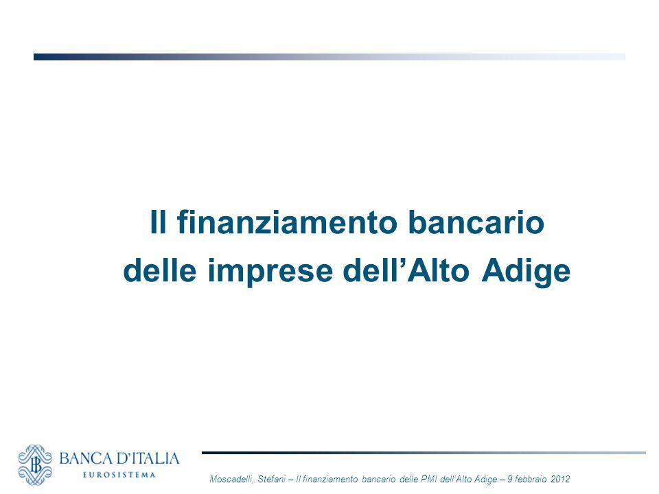 Il finanziamento bancario delle imprese dellAlto Adige Moscadelli, Stefani – Il finanziamento bancario delle PMI dellAlto Adige – 9 febbraio 2012
