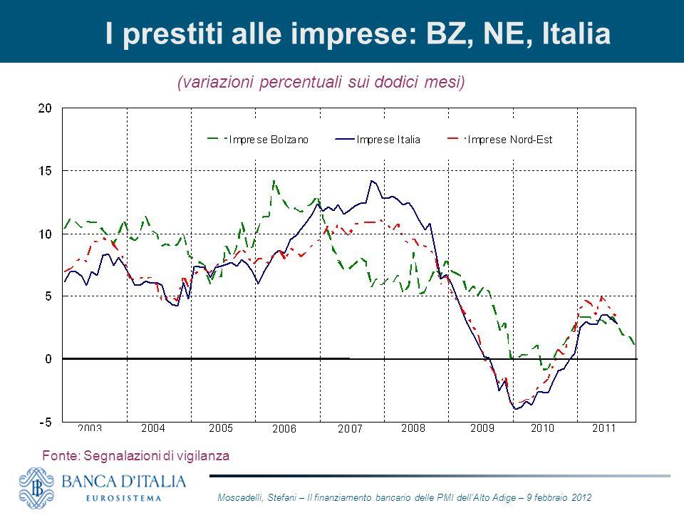 I prestiti alle imprese: BZ, NE, Italia (variazioni percentuali sui dodici mesi) Fonte: Segnalazioni di vigilanza Moscadelli, Stefani – Il finanziamen