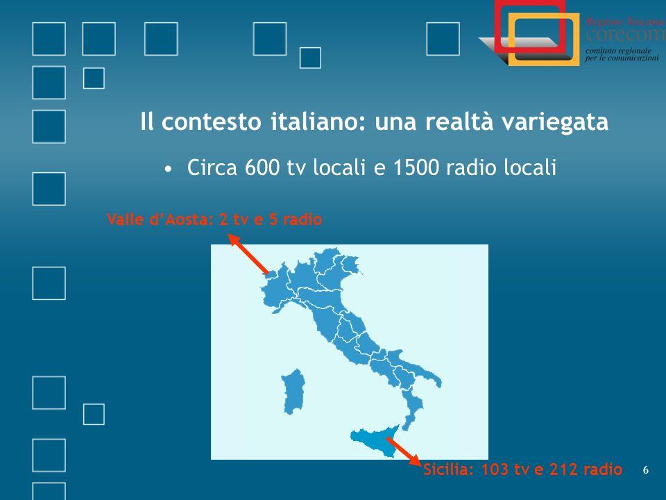7 Il contesto italiano: gli ascolti delle tv locali Gli ascolti delle tv locali: 600 tv locali 4% del mercato 6 tv nazionali 85% del mercato Il monitoraggio h24 di 30, 40, fino a oltre 100 tv locali ha costi elevati Valutare con attenzione il rapporto costi-benefici