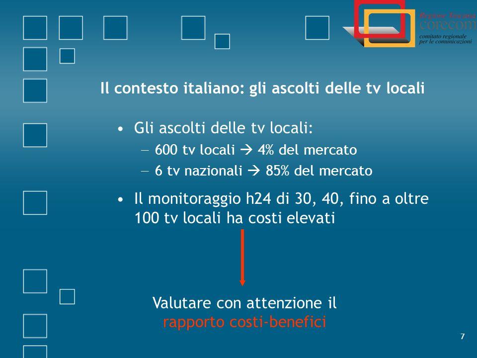 8 La registrazione delle tv locali Modello dellAutorità (sulle reti nazionali) Registrazione h24 Archiviazione per almeno 6 mesi Applicato ai Corecom: in Toscana 30.000 ore al mese in Italia 5 milioni di ore allanno 2012: switch off digitale completato Riassestamento complessivo.