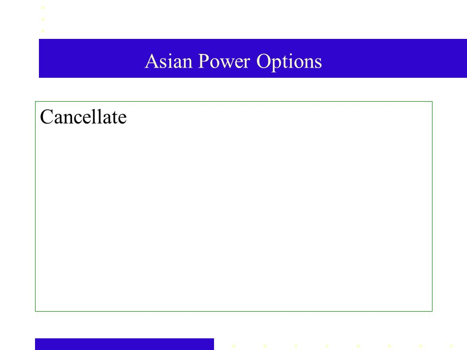 Asian Power Options Cancellate