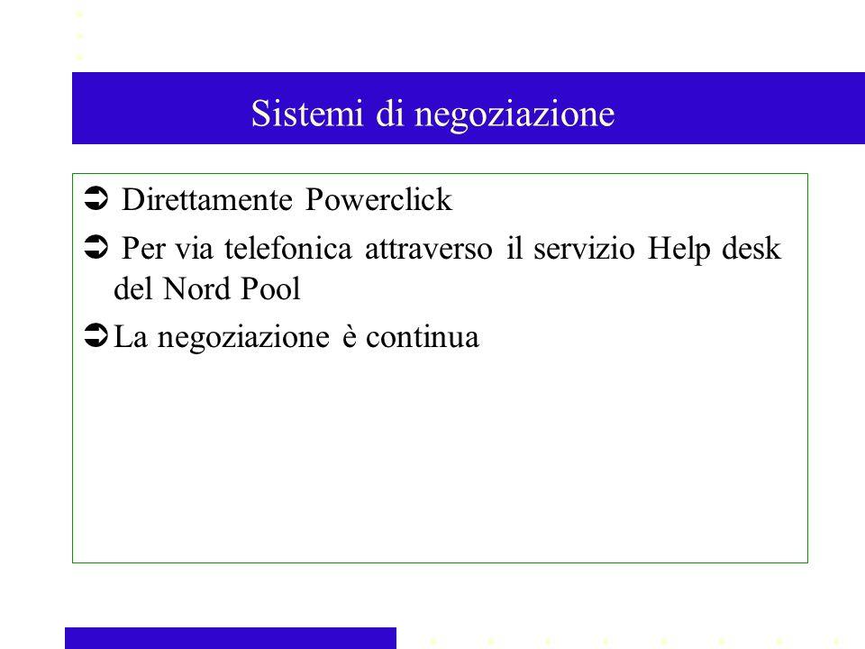 Sistemi di negoziazione Direttamente Powerclick Per via telefonica attraverso il servizio Help desk del Nord Pool La negoziazione è continua