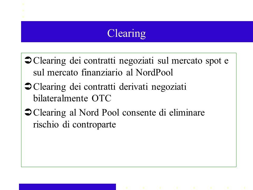 Clearing Clearing dei contratti negoziati sul mercato spot e sul mercato finanziario al NordPool Clearing dei contratti derivati negoziati bilateralmente OTC Clearing al Nord Pool consente di eliminare rischio di controparte