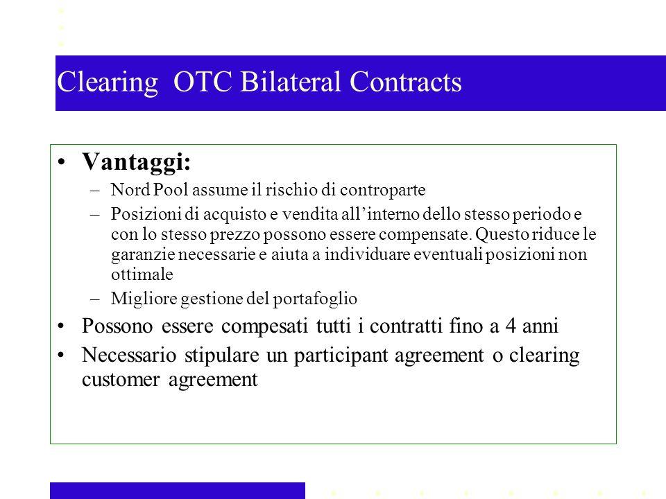Clearing OTC Bilateral Contracts Vantaggi: –Nord Pool assume il rischio di controparte –Posizioni di acquisto e vendita allinterno dello stesso periodo e con lo stesso prezzo possono essere compensate.