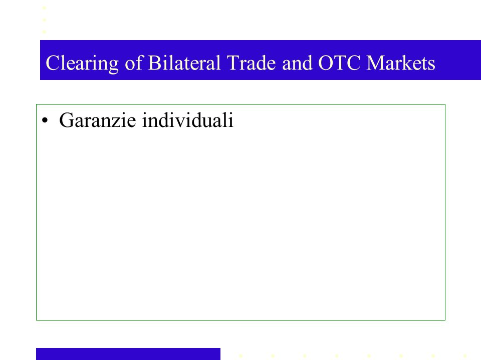 Clearing of Bilateral Trade and OTC Markets Garanzie individuali