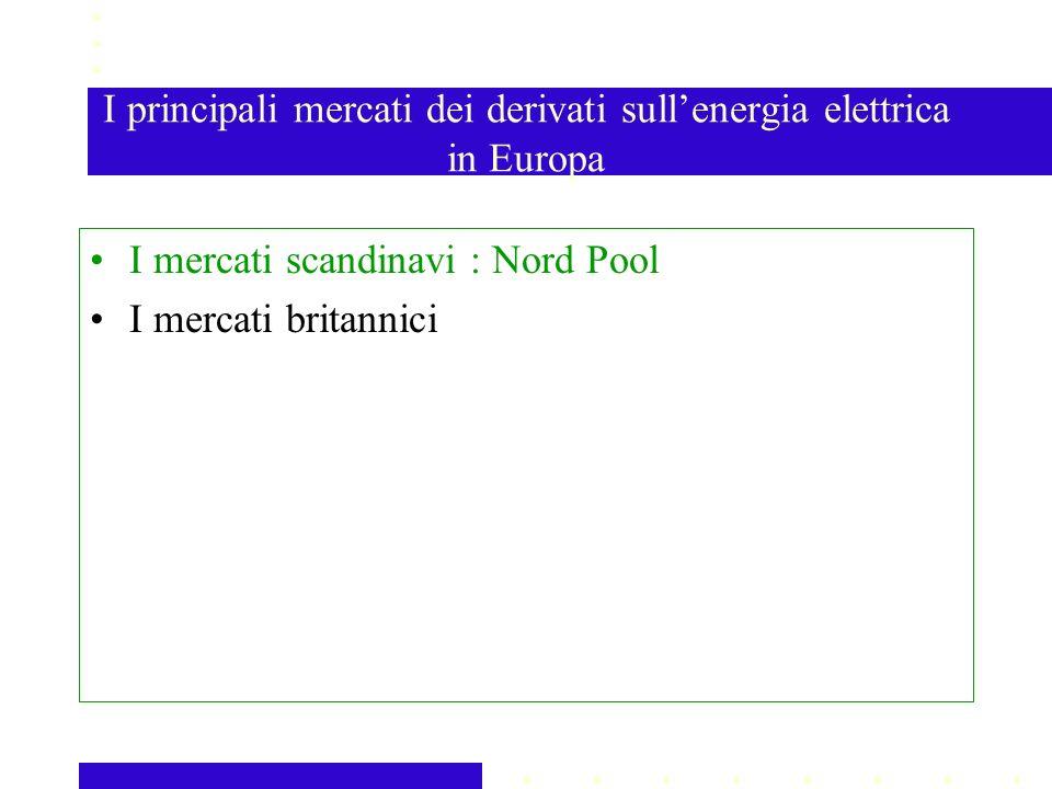 I principali mercati dei derivati sullenergia elettrica in Europa I mercati scandinavi : Nord Pool I mercati britannici