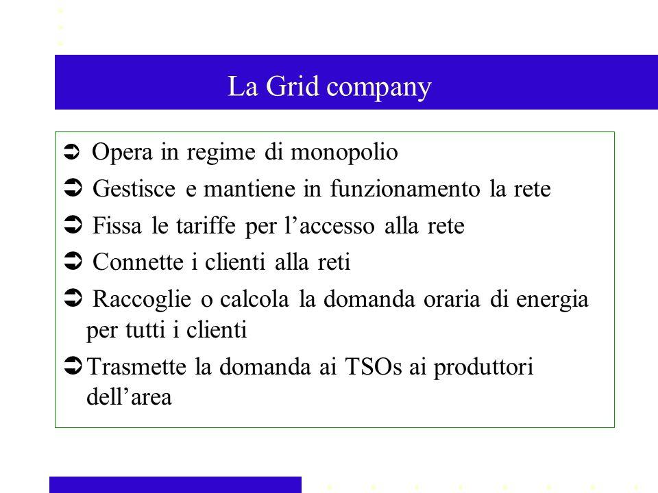La Grid company Opera in regime di monopolio Gestisce e mantiene in funzionamento la rete Fissa le tariffe per laccesso alla rete Connette i clienti alla reti Raccoglie o calcola la domanda oraria di energia per tutti i clienti Trasmette la domanda ai TSOs ai produttori dellarea