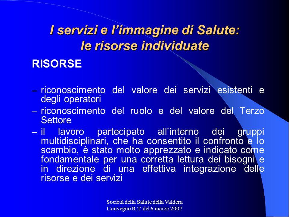 Società della Salute della Valdera Convegno R.T. del 6 marzo 2007 I servizi e limmagine di Salute: le risorse individuate RISORSE – riconoscimento del