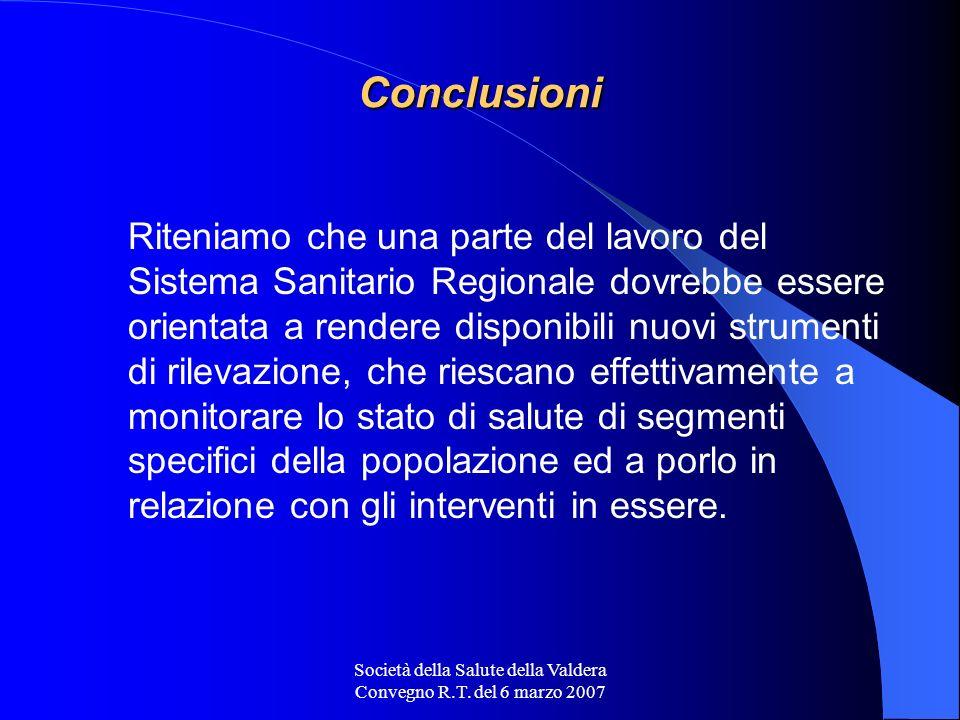 Società della Salute della Valdera Convegno R.T. del 6 marzo 2007 Conclusioni Riteniamo che una parte del lavoro del Sistema Sanitario Regionale dovre
