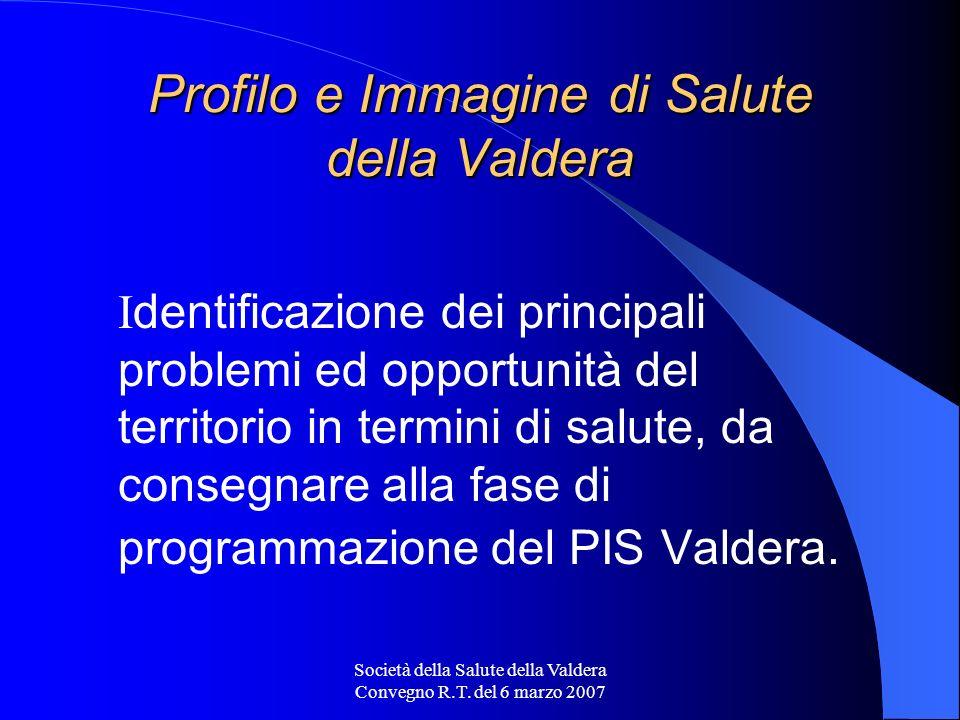 Società della Salute della Valdera Convegno R.T. del 6 marzo 2007 Profilo e Immagine di Salute della Valdera I dentificazione dei principali problemi