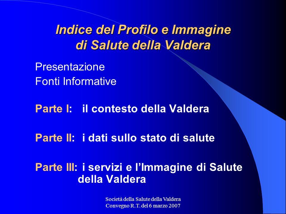Società della Salute della Valdera Convegno R.T. del 6 marzo 2007 Indice del Profilo e Immagine di Salute della Valdera Presentazione Fonti Informativ