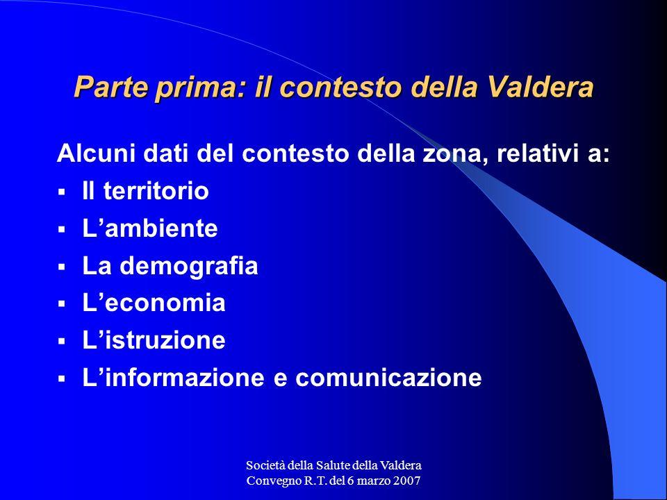 Società della Salute della Valdera Convegno R.T. del 6 marzo 2007 Parte prima: il contesto della Valdera Alcuni dati del contesto della zona, relativi