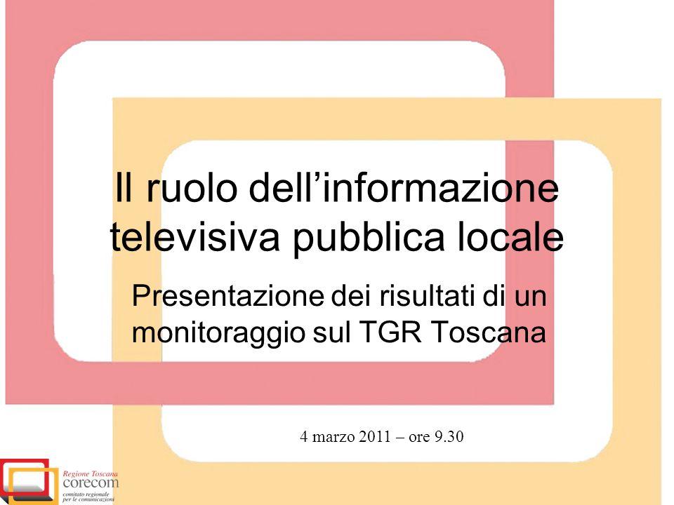 Il ruolo dellinformazione televisiva pubblica locale Presentazione dei risultati di un monitoraggio sul TGR Toscana 4 marzo 2011 – ore 9.30