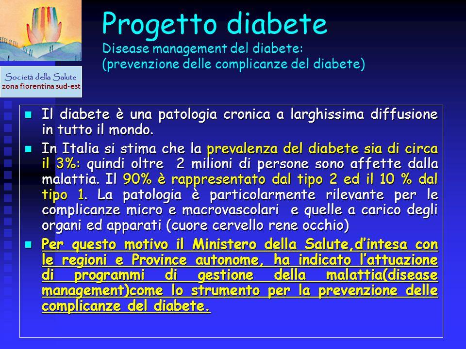 Progetto diabete Disease management del diabete: (prevenzione delle complicanze del diabete) Il diabete è una patologia cronica a larghissima diffusio