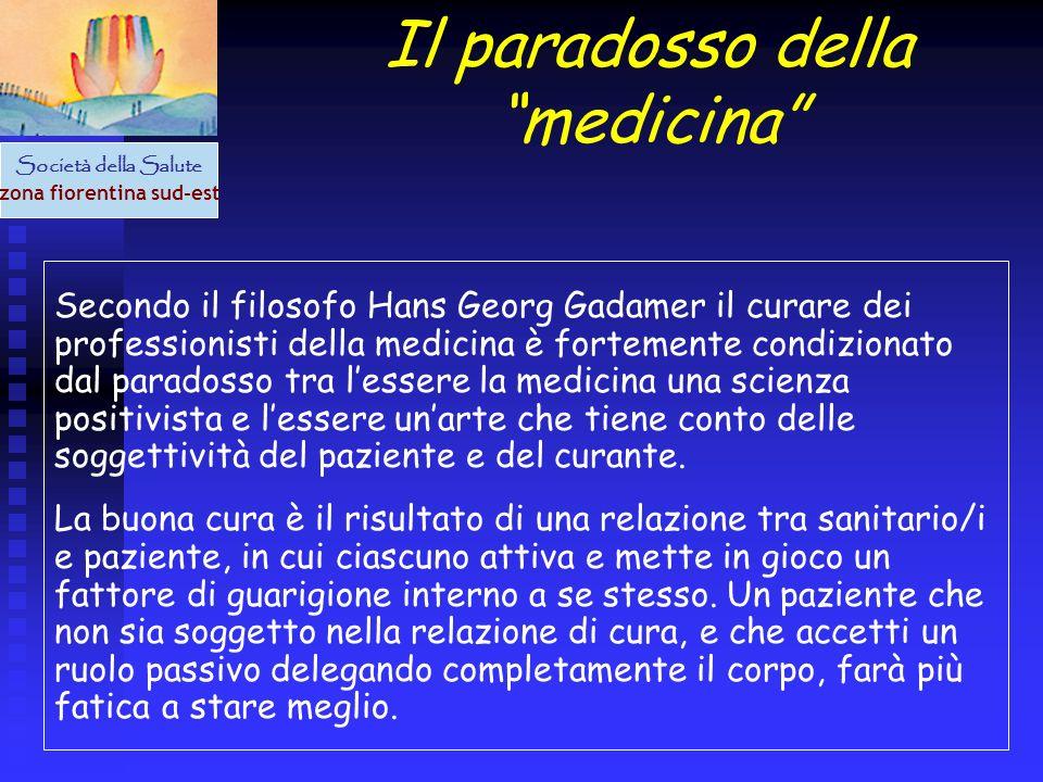 Società della Salute zona fiorentina sud-est Il paradosso della medicina Secondo il filosofo Hans Georg Gadamer il curare dei professionisti della med