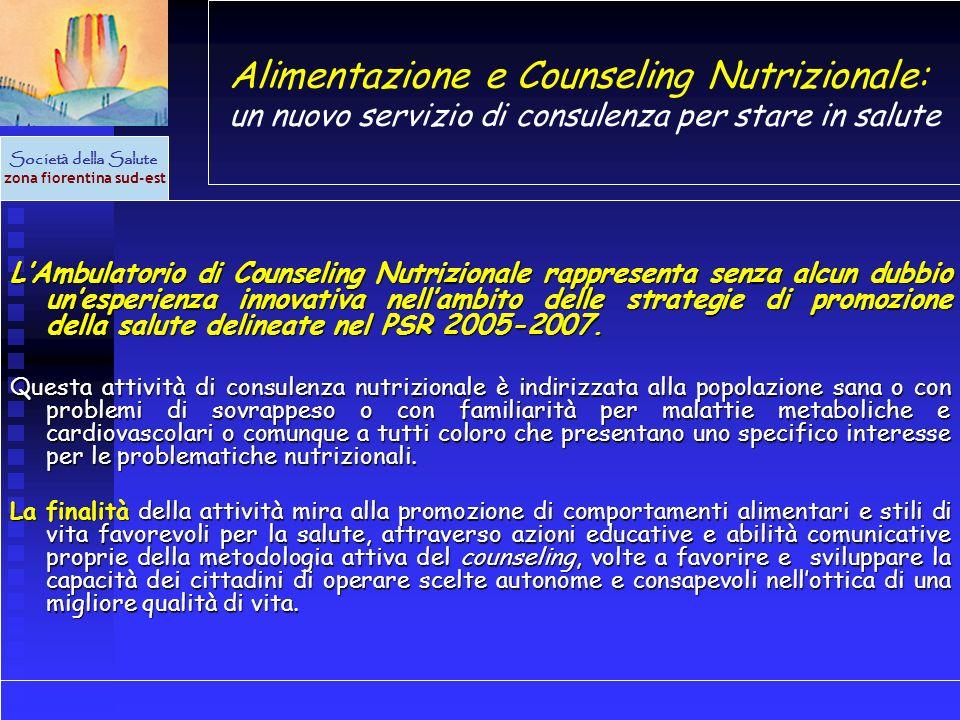 Alimentazione e Counseling Nutrizionale: un nuovo servizio di consulenza per stare in salute Societ à della Salute zona fiorentina sud-est LAmbulatori