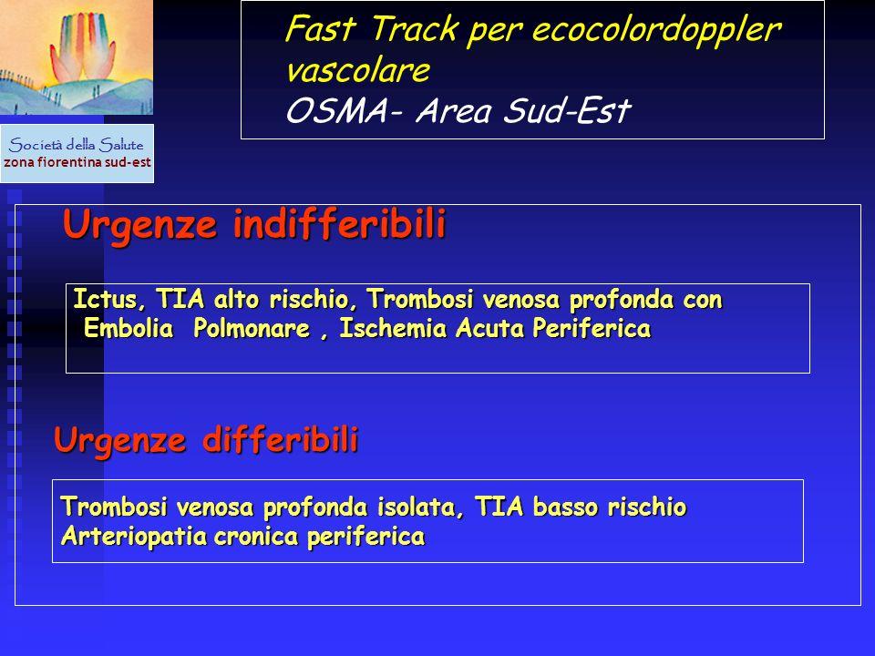 Urgenze indifferibili Urgenze indifferibili Fast Track per ecocolordoppler vascolare OSMA- Area Sud-Est Societ à della Salute zona fiorentina sud-est
