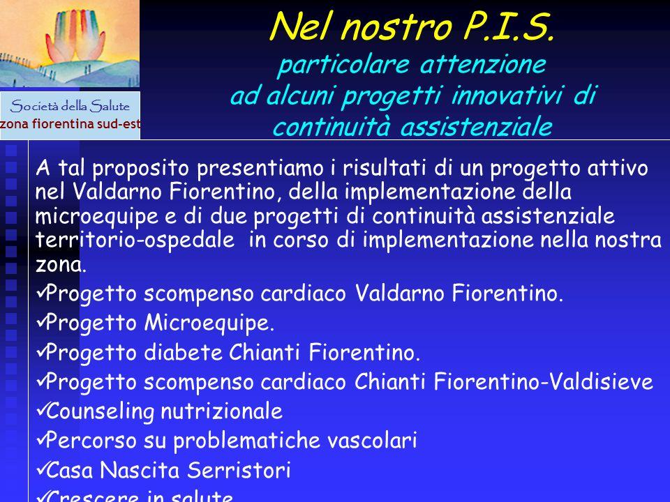 Società della Salute zona fiorentina sud-est Nel nostro P.I.S. particolare attenzione ad alcuni progetti innovativi di continuità assistenziale A tal