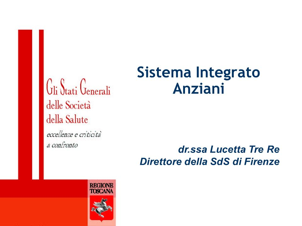 Sistema Integrato Anziani dr.ssa Lucetta Tre Re Direttore della SdS di Firenze