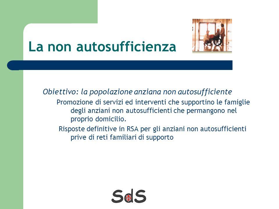 La non autosufficienza Obiettivo: la popolazione anziana non autosufficiente Promozione di servizi ed interventi che supportino le famiglie degli anzi