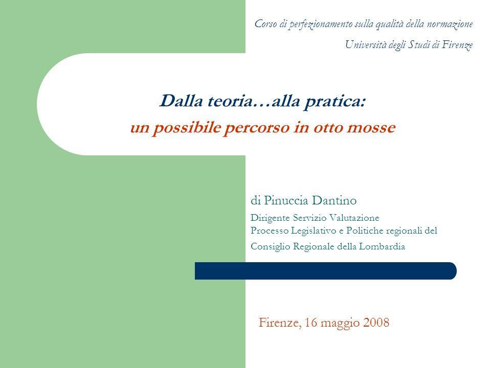 Dalla teoria…alla pratica: un possibile percorso in otto mosse di Pinuccia Dantino Dirigente Servizio Valutazione Processo Legislativo e Politiche reg
