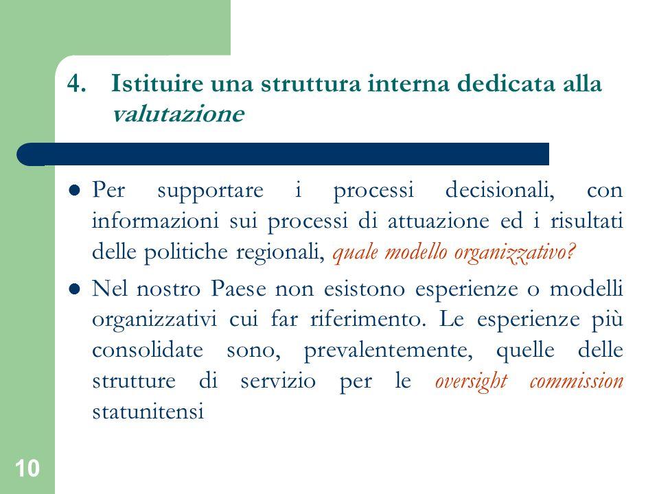 10 4.Istituire una struttura interna dedicata alla valutazione Per supportare i processi decisionali, con informazioni sui processi di attuazione ed i risultati delle politiche regionali, quale modello organizzativo.