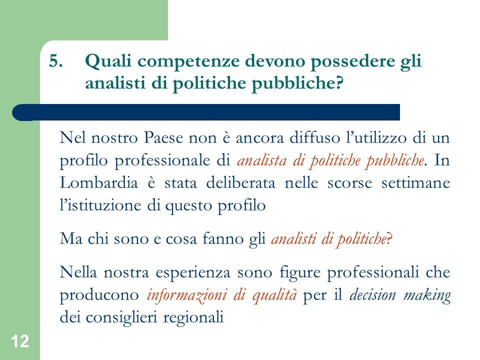 12 5.Quali competenze devono possedere gli analisti di politiche pubbliche? Nel nostro Paese non è ancora diffuso lutilizzo di un profilo professional