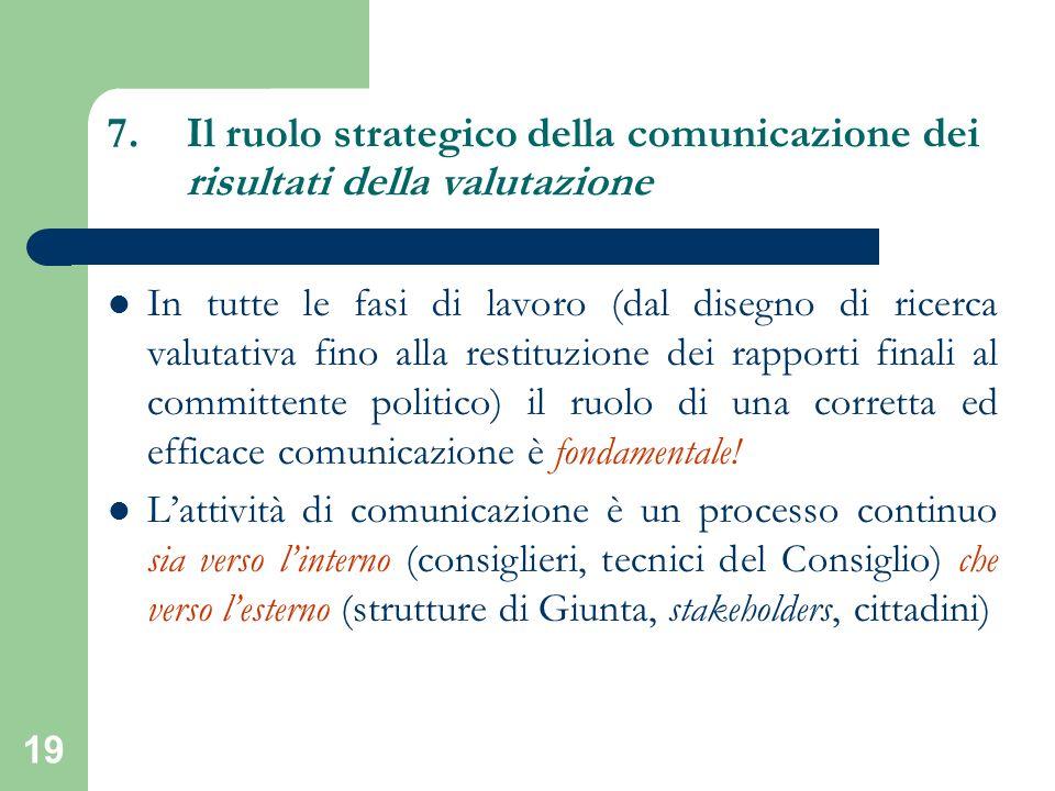 19 7.Il ruolo strategico della comunicazione dei risultati della valutazione In tutte le fasi di lavoro (dal disegno di ricerca valutativa fino alla r