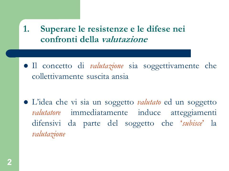 2 1.Superare le resistenze e le difese nei confronti della valutazione Il concetto di valutazione sia soggettivamente che collettivamente suscita ansi