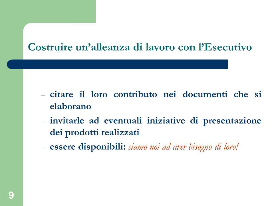 9 – citare il loro contributo nei documenti che si elaborano – invitarle ad eventuali iniziative di presentazione dei prodotti realizzati – essere disponibili: siamo noi ad aver bisogno di loro.