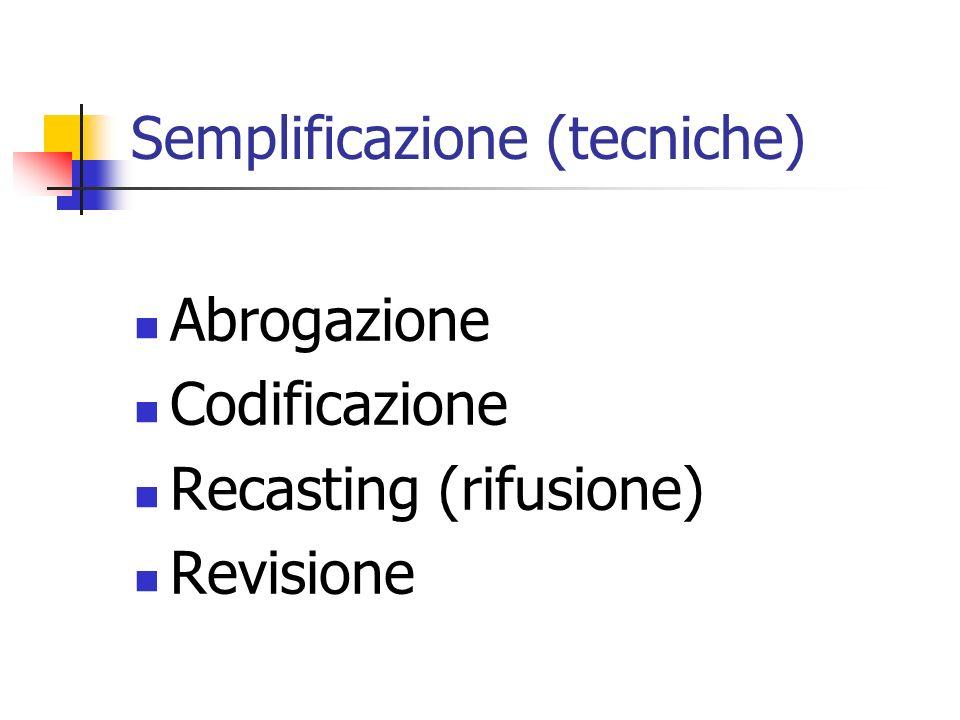 Semplificazione (tecniche) Abrogazione Codificazione Recasting (rifusione) Revisione