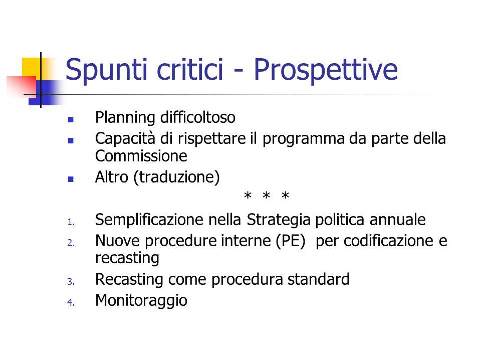 Spunti critici - Prospettive Planning difficoltoso Capacità di rispettare il programma da parte della Commissione Altro (traduzione) * * * 1.