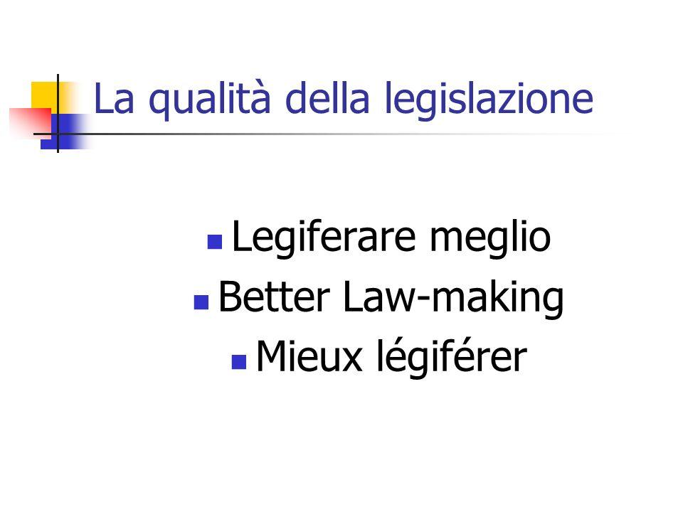 La qualità della legislazione Legiferare meglio Better Law-making Mieux légiférer