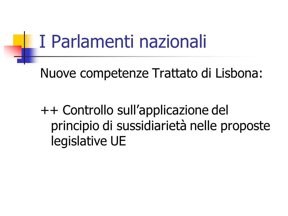 I Parlamenti nazionali Nuove competenze Trattato di Lisbona: ++ Controllo sullapplicazione del principio di sussidiarietà nelle proposte legislative UE