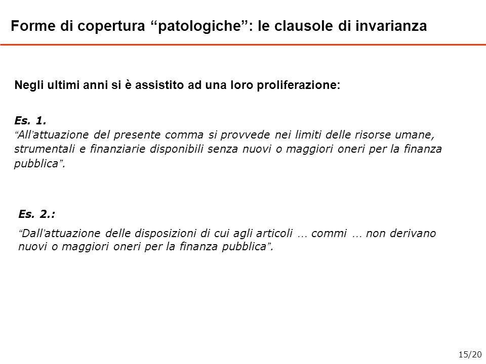 Forme di copertura patologiche: le clausole di invarianza Negli ultimi anni si è assistito ad una loro proliferazione: Es. 1. All attuazione del prese