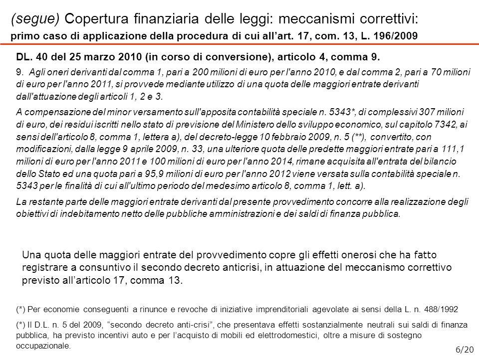 (segue) Copertura finanziaria delle leggi: meccanismi correttivi: primo caso di applicazione della procedura di cui allart. 17, com. 13, L. 196/2009 D