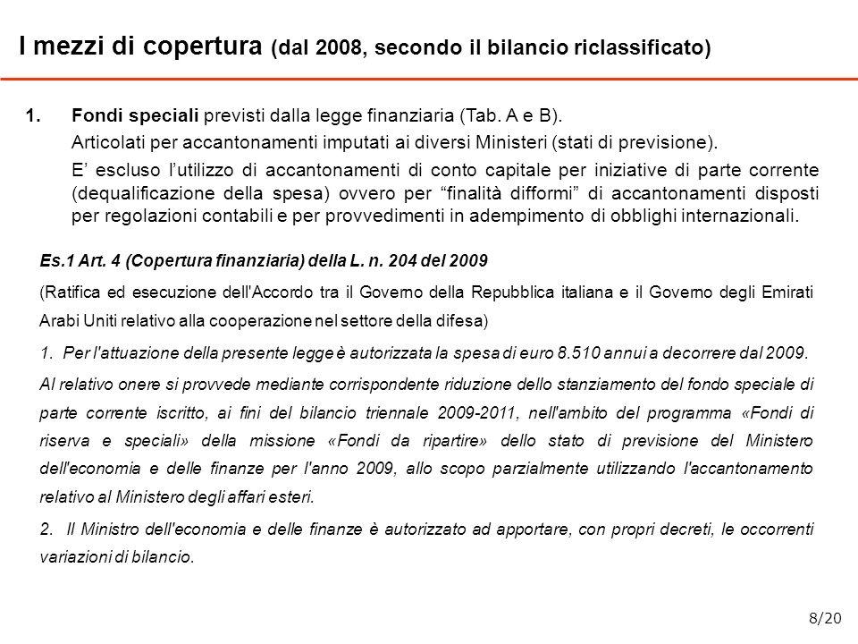 1.Fondi speciali previsti dalla legge finanziaria (Tab. A e B). Articolati per accantonamenti imputati ai diversi Ministeri (stati di previsione). E e