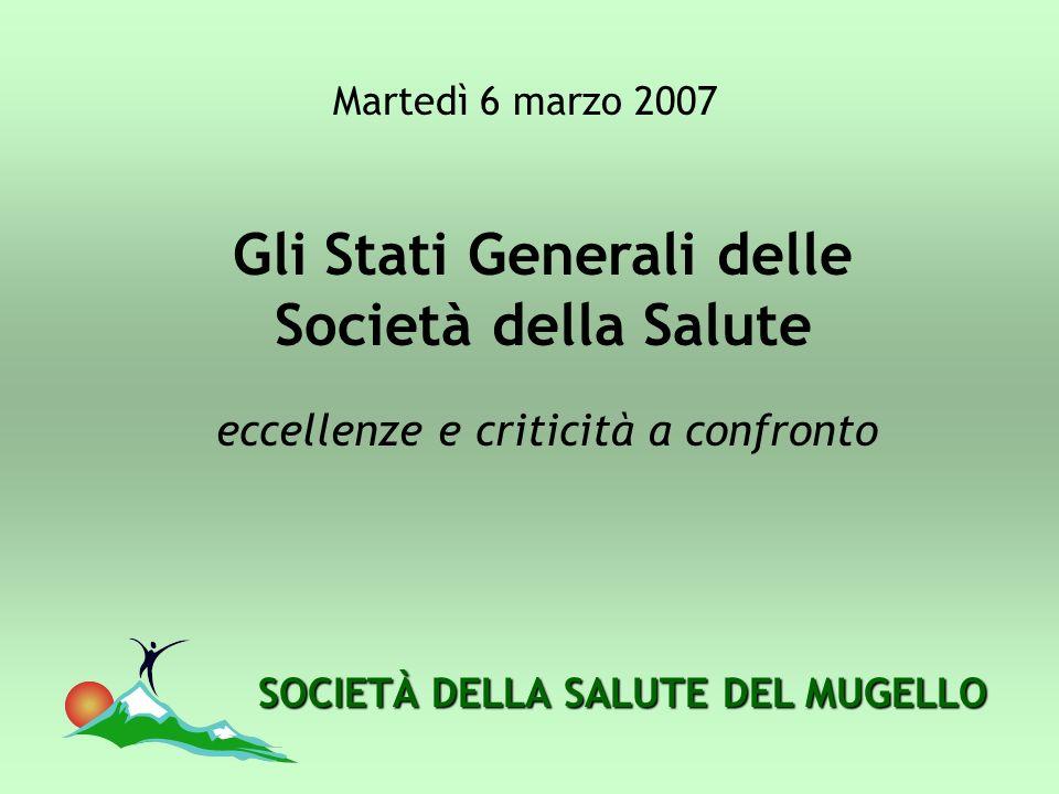 SOCIETÀ DELLA SALUTE DEL MUGELLO Gli Stati Generali delle Società della Salute eccellenze e criticità a confronto Martedì 6 marzo 2007