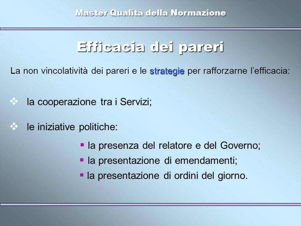 Master Qualità della Normazione Efficacia dei pareri strategie La non vincolatività dei pareri e le strategie per rafforzarne lefficacia: la cooperazi