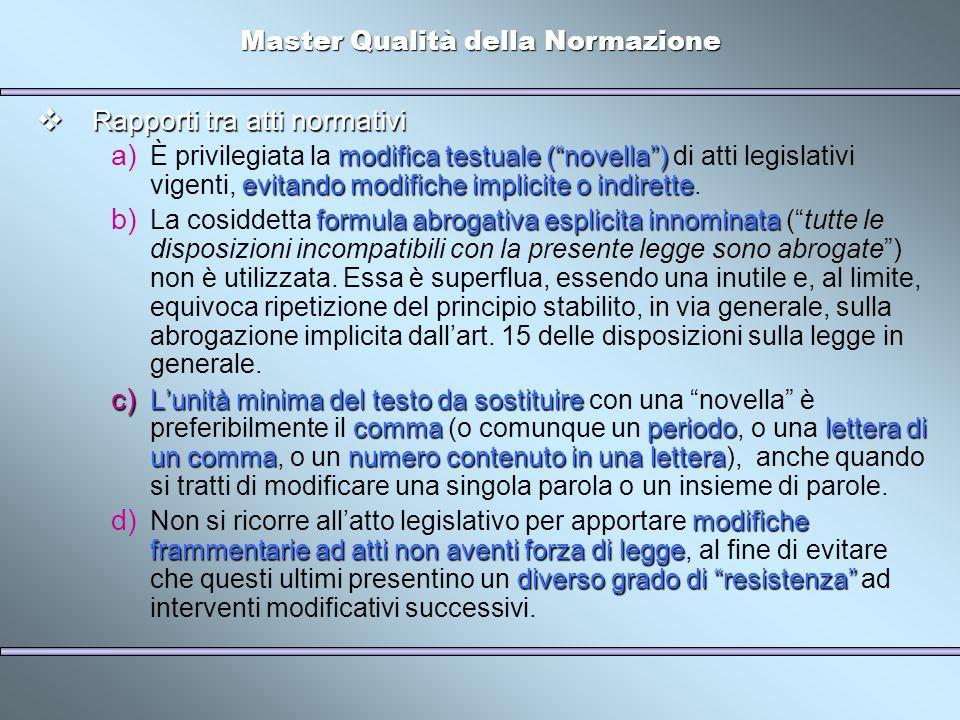 Master Qualità della Normazione Rapporti tra atti normativi Rapporti tra atti normativi modifica testuale (novella) evitando modifiche implicite o ind