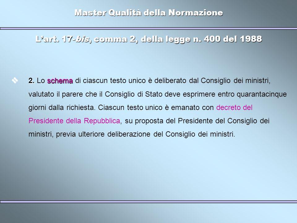 Master Qualità della Normazione Lart. 17-bis, comma 2, della legge n. 400 del 1988 2.schema 2. Lo schema di ciascun testo unico è deliberato dal Consi