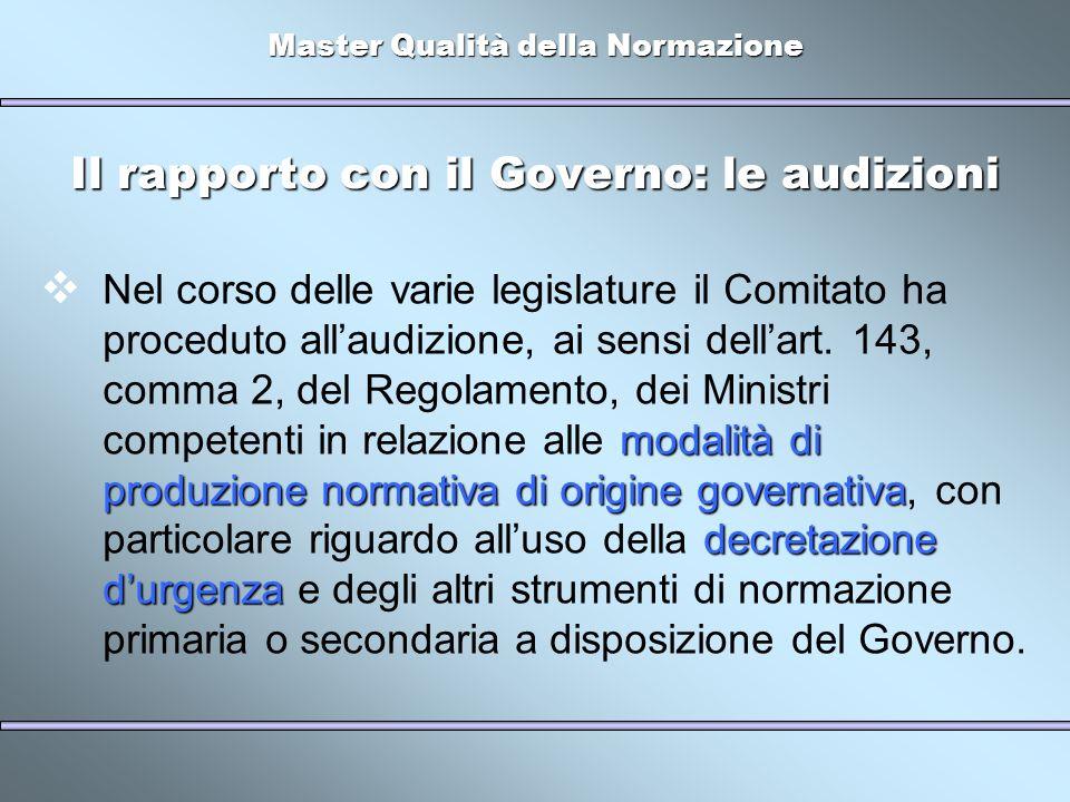 Master Qualità della Normazione Il rapporto con il Governo: le audizioni modalità di produzione normativa di origine governativa decretazione durgenza