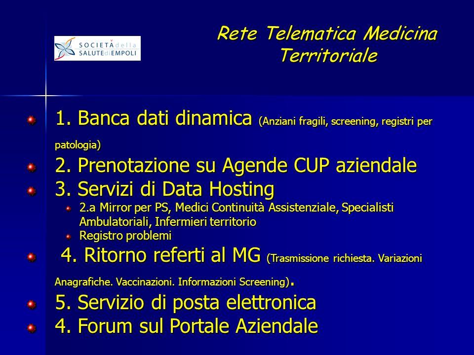 1. Banca dati dinamica (Anziani fragili, screening, registri per patologia) 2.