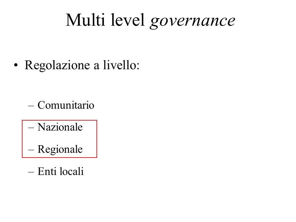 Multi level governance Regolazione a livello: –Comunitario –Nazionale –Regionale –Enti locali