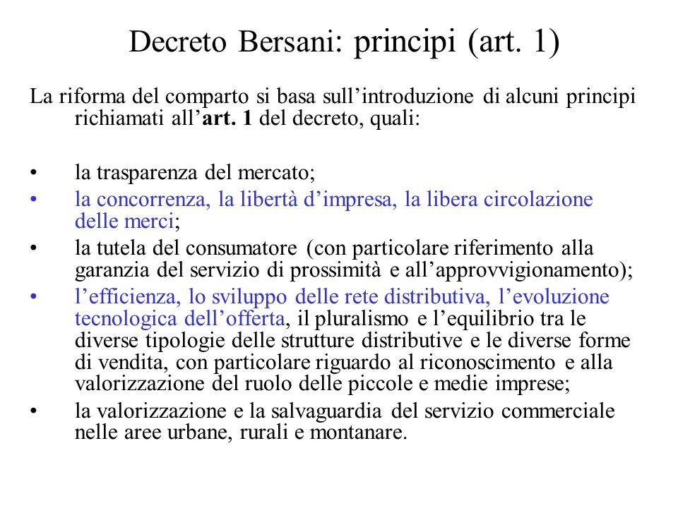 Decreto Bersani : principi (art.