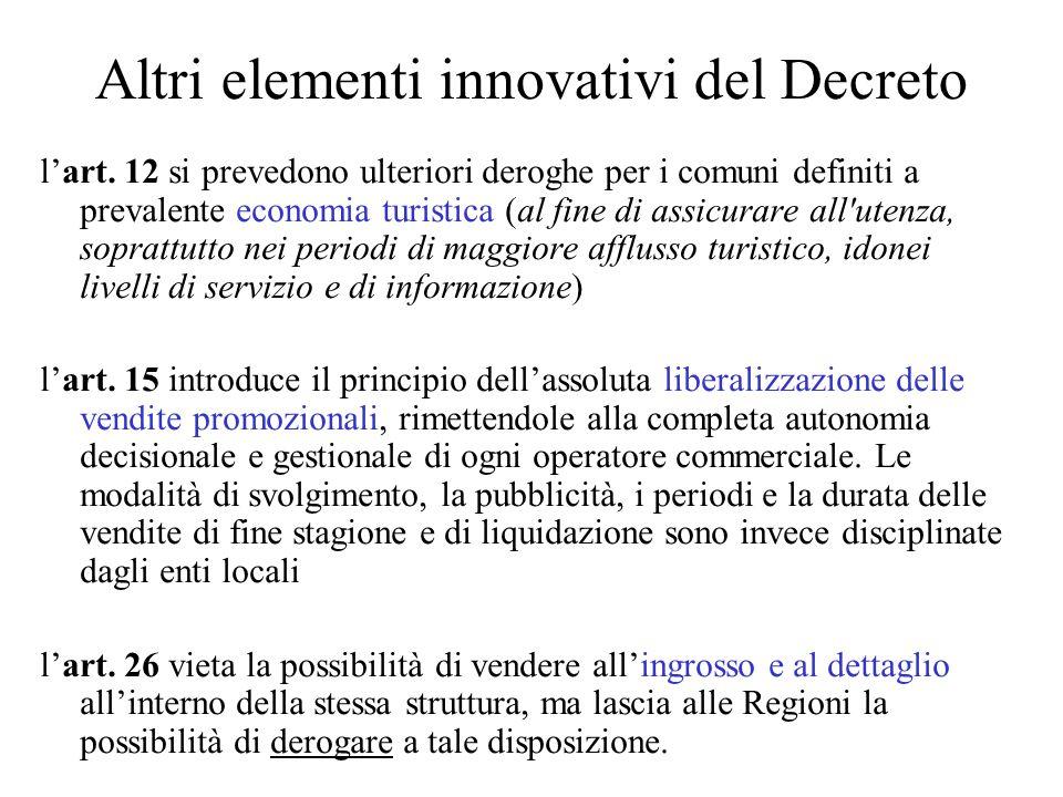 Altri elementi innovativi del Decreto lart.