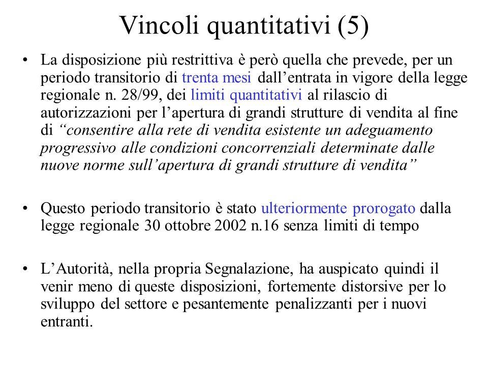 Vincoli quantitativi (5) La disposizione più restrittiva è però quella che prevede, per un periodo transitorio di trenta mesi dallentrata in vigore della legge regionale n.