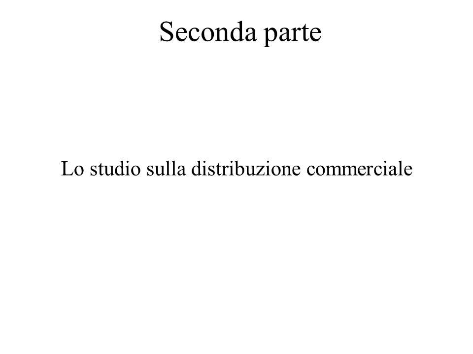Seconda parte Lo studio sulla distribuzione commerciale